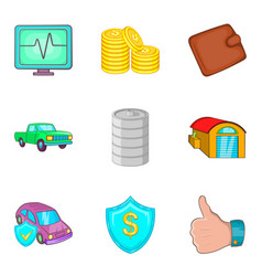 Auto insurance icons set cartoon style vector
