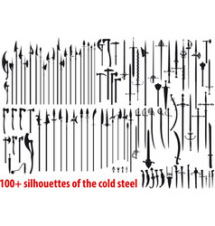 big set silhouettes cold steel vector image