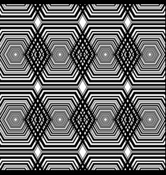 Black and white hexagon geometric pattern vector
