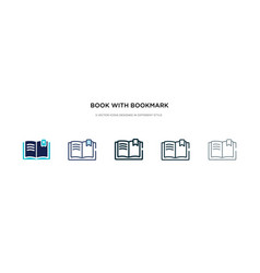Book with bookmark icon in different style two vector
