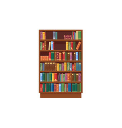 bookcase icon shelf with books in library vector image