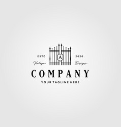Building gate fence logo vintage design vector