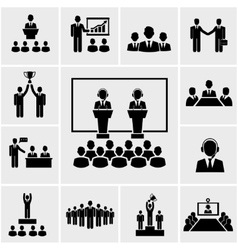 Business conference and presentation icons vector image
