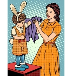 Carnival mother of the child dresses up in a Bunny vector image
