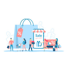 cartoon color characters people discount concept vector image
