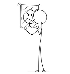 cartoon of angry man looking at yourself in mirror vector image