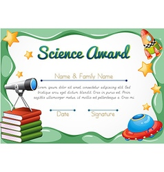 Certificate with science objects in background vector