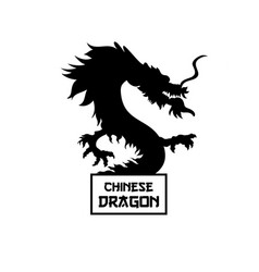 Chinese dragon silhouette hand drawn vector