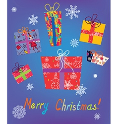 Christmas card with gifts and snow vector image