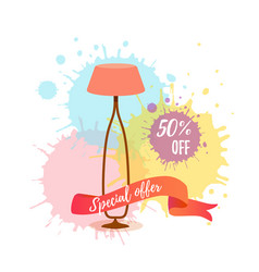 colorful cartoon floor lamp sale concept for home vector image