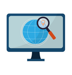 computer on internet vector image