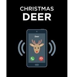 Concept of phone call from Christmas Deer vector