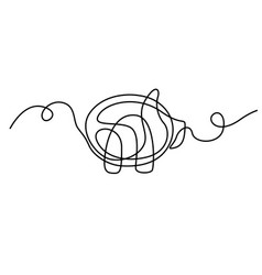 continuous line drawing pig vector image