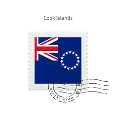 Cook Islands Flag Postage Stamp vector image