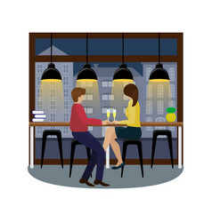 couple in love with champagne at the bar counter vector image