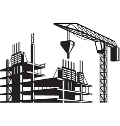 Crane poured concrete construction vector