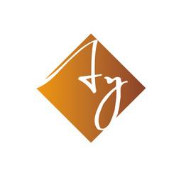 Creative initial letter ay square logo design vector
