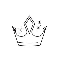 Crown gem fantasy line design vector