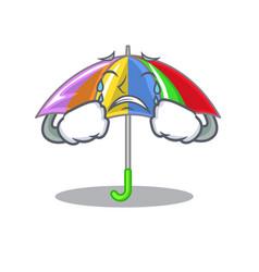 Crying rainbow umbrella in chracter that fun vector
