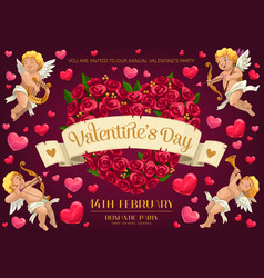 cupds and rose flower heart valentines day party vector image