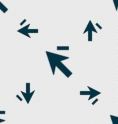 Cursor arrow minus icon sign Seamless pattern with vector