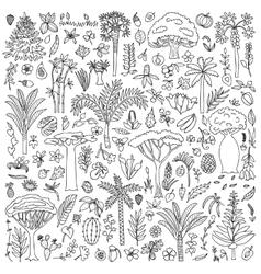 Doodle Forest Set vector