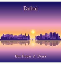 Dubai Deira and Bur Dubai on sunset background vector
