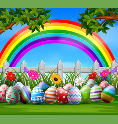 easter eggs and colorful on the garden vector image