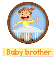 Educational english word card baby brother vector