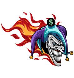 Evil joker with flames art vector