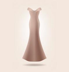 Female long dress mock up isolated beige dress vector