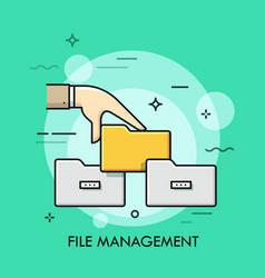 File management thin line concept vector