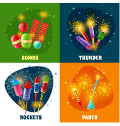 Firework crackers rockets 4 icons square vector