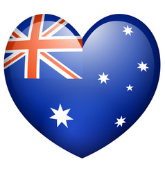 Flag on australia in heart shape vector
