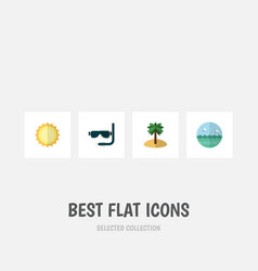flat icon summer set of coconut ocean sunshine vector image