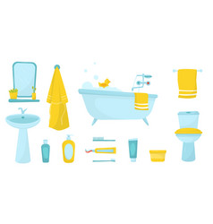 flat set of bathroom items bath with foam vector image