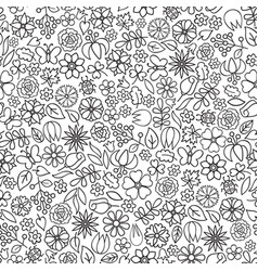 floral doodle seamless pattern flower icon gentle vector image