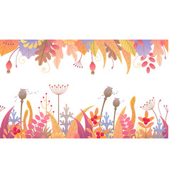 Floral horizontal seamless border with autumn vector