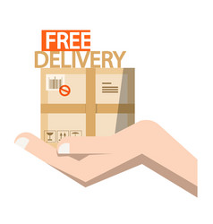 free delivery symbol - parcel in hand vector image