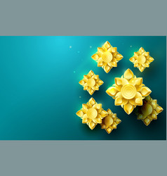 gold abstract flowers asian pattern background vector image