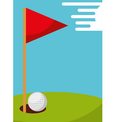 golf ball hole and flag field sport vector image