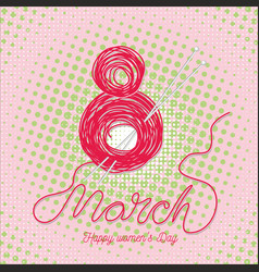greeting card with 8 march womens day 8 vector image