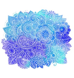 Hand drawn doodle flowers with watercolor texture vector