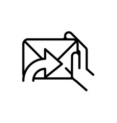 hand with mail postal delivery icon thick line vector image