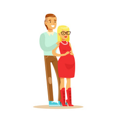 Happy young couple expecting baby colorful vector