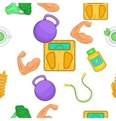 Healthy lifestyle pattern cartoon style vector