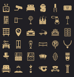 homely atmosphere icons set simple style vector image