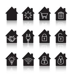 houses drop shadow black glyph icons set vector image