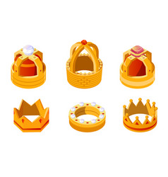 Isometric golden king or queen crown set with gems vector