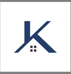 k letter real estate roof construction logo vector image